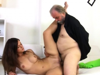 Youthful Hottie Sucks Old Cock And Acquires Pussy Licked