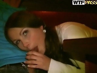 Adorable Teen Gal Mystica Gives A Head In A Cafe