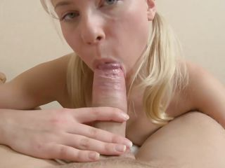 Blonde Teen Giving Blowjob After Inserting Anal Dildo In Ass
