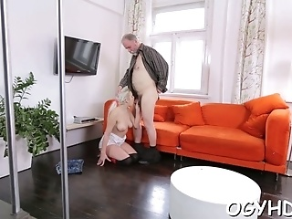 Crazy Old Fucker Is Happy To Slam Juicy Pussy Of A  Girl