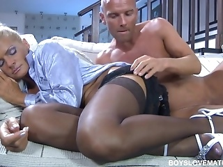 Tanned Cougar Deepthroats Swollen Limp Dick Of Young Freak