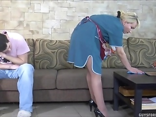 Young Pervert Licks Bald Cunt Of Chubby House-cleaner