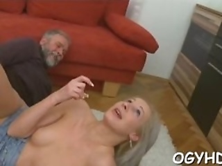 Adorable  Sweetie Enjoys Rear Fuck With Old Guy