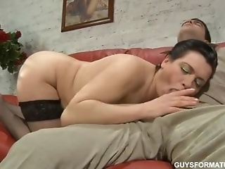 Brunette MILF In Black Stockings Elsa Gets Licked Off