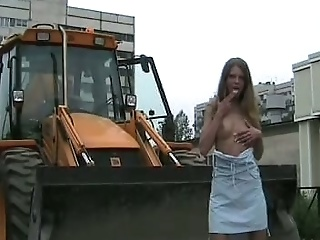 Stunning Young Russian Girl On The Construction Site Flashes Her Goodies