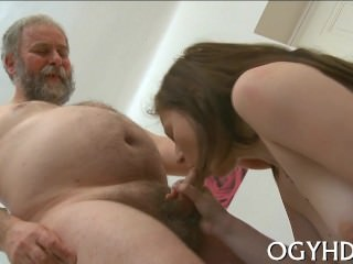 Teen Gives A Blow To An Old Guy
